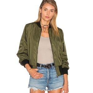 Bishop + Young army green and black bomber jacket